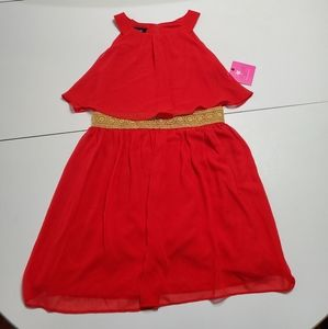NWT InGirl 12 Fancy Flowy Dress with Gold accent